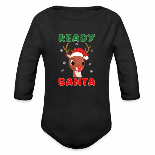 Rudolph Red Nose Reindeer Christmas Snowflakes. - Organic Long Sleeve Baby Bodysuit