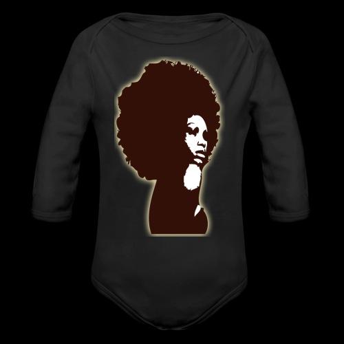 Brown Afro - Organic Long Sleeve Baby Bodysuit