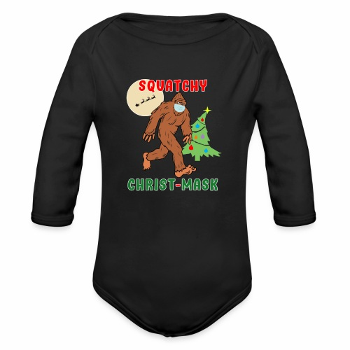 Bigfoot Squatchy Christmas Mask Social Distance. - Organic Long Sleeve Baby Bodysuit