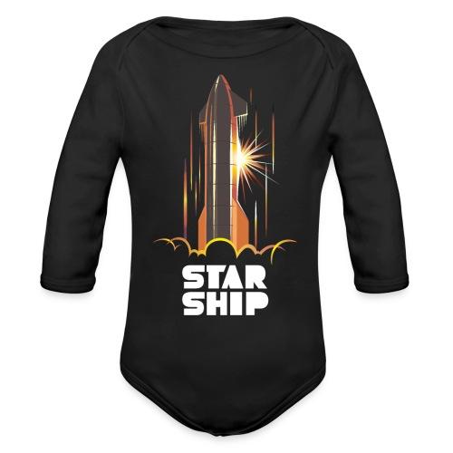 Star Ship Mars - Dark - Organic Long Sleeve Baby Bodysuit