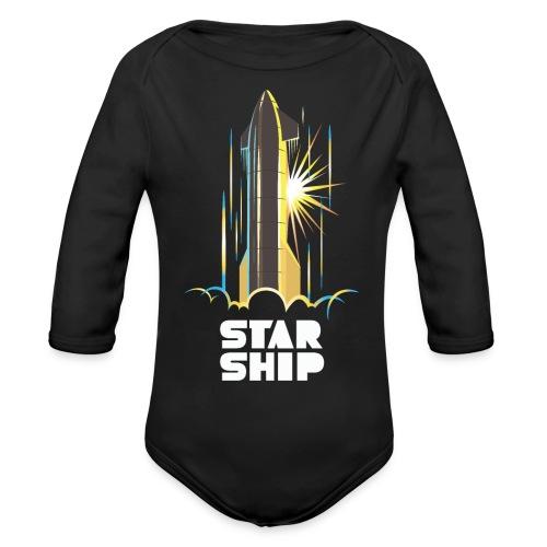 Star Ship Earth - Dark - Organic Long Sleeve Baby Bodysuit