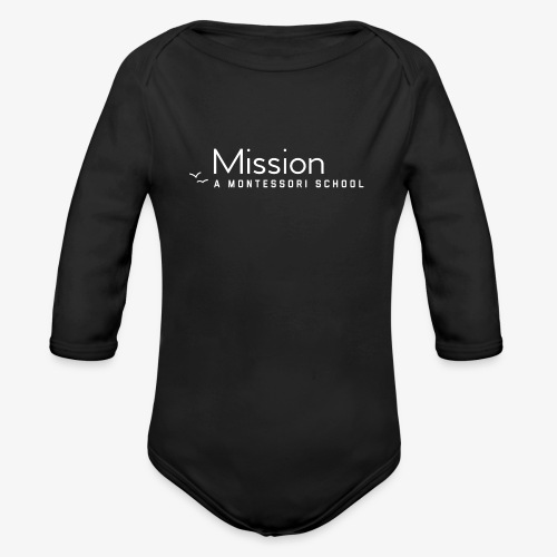 MM White Logo Clothing and Accessories - Organic Long Sleeve Baby Bodysuit