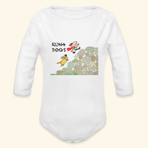 Dog chasing kid - Organic Long Sleeve Baby Bodysuit