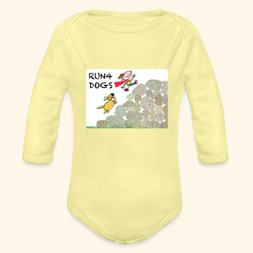 Dog chasing kid - Organic Long Sleeve Baby Bodysuit