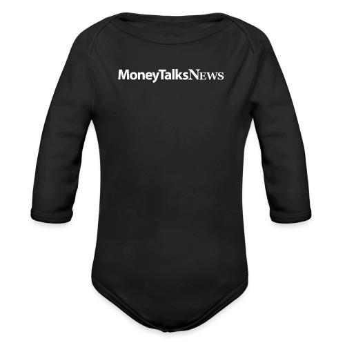 Money Talks News Logo - White - Organic Long Sleeve Baby Bodysuit