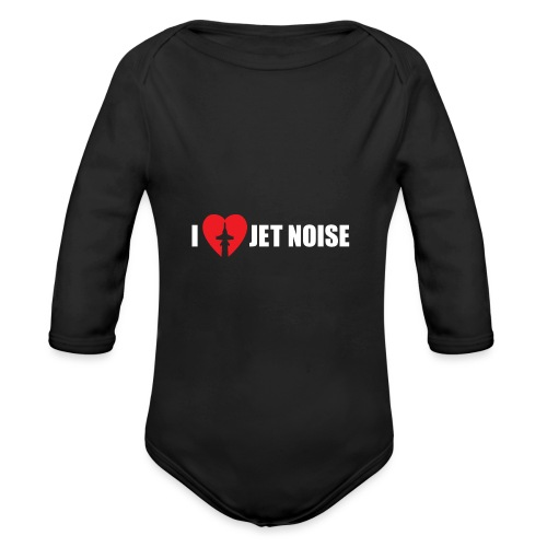 I Love Jet Noise Aviation Heart - Organic Long Sleeve Baby Bodysuit