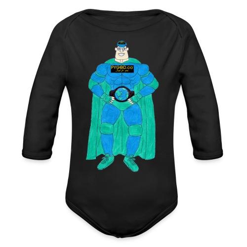 PYGOD Man - PYGOD.co Mascot - Organic Long Sleeve Baby Bodysuit