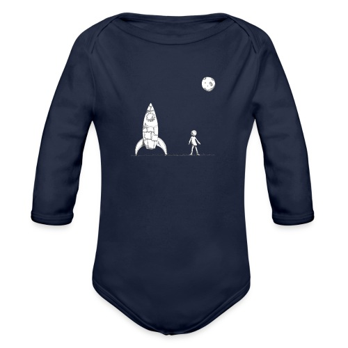 rocket to the moon - Organic Long Sleeve Baby Bodysuit