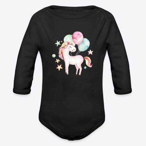 Unicorn with Baloons Mug - Organic Long Sleeve Baby Bodysuit