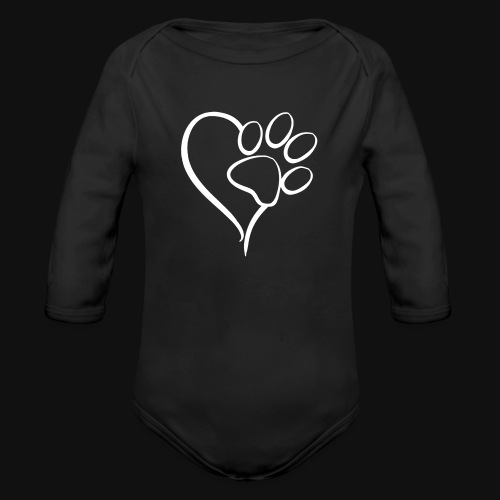 Paw print on my Heart - Organic Long Sleeve Baby Bodysuit