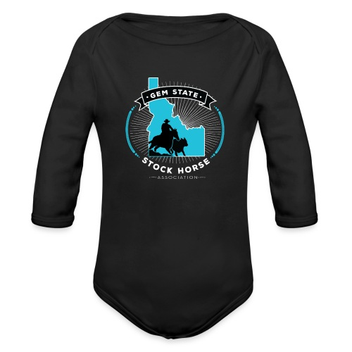 Turquose Sunburst Logo - Organic Long Sleeve Baby Bodysuit