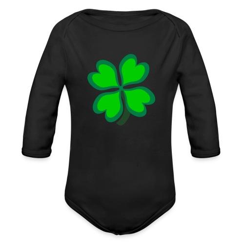 4 leaf clover - Organic Long Sleeve Baby Bodysuit