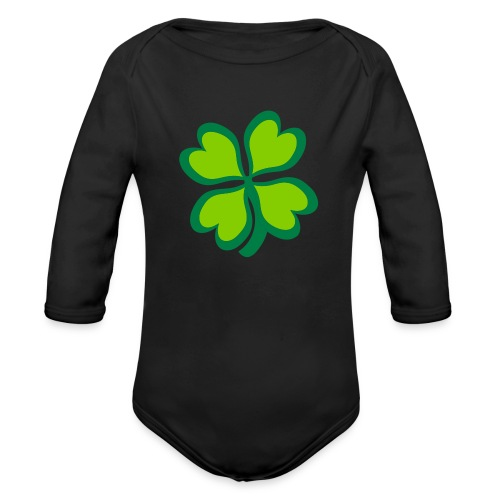 4 leaf clover - Organic Long Sleeve Baby Bodysuit