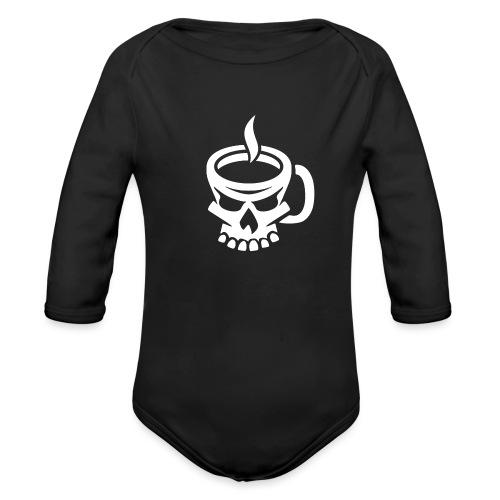 Caffeinated Coffee Skull - Organic Long Sleeve Baby Bodysuit