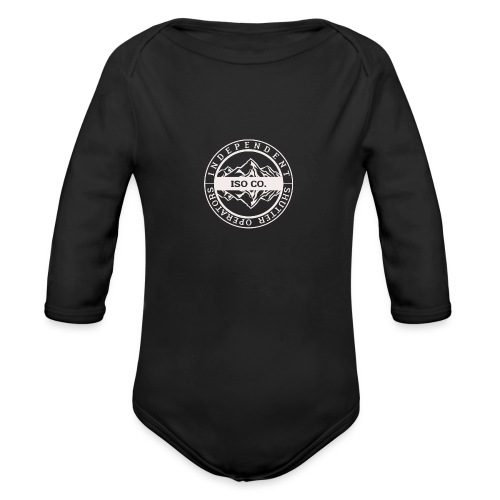 ISO Co. White Classic Emblem - Organic Long Sleeve Baby Bodysuit