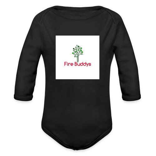 Fire Buddys Website Logo White Tee-shirt eco - Organic Long Sleeve Baby Bodysuit