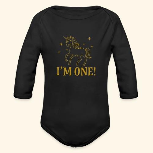 1st Birthday Gold Unicorn - Organic Long Sleeve Baby Bodysuit