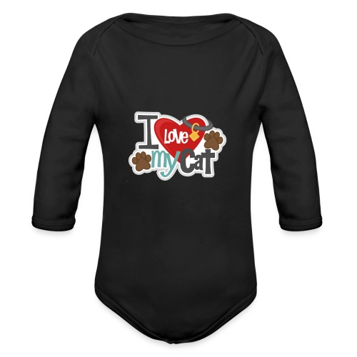 i love my cat - Organic Long Sleeve Baby Bodysuit