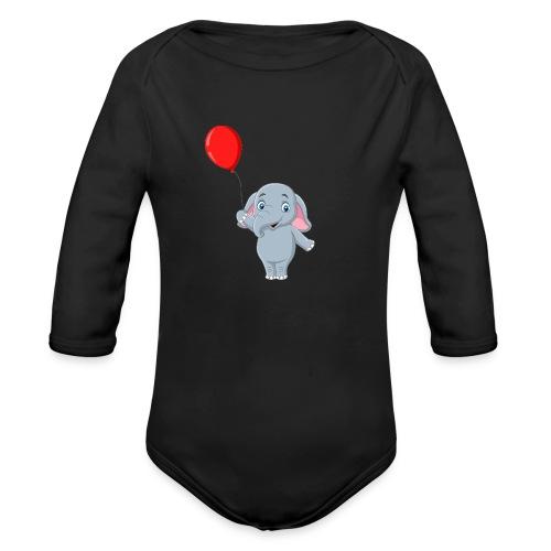 Baby Elephant Holding A Balloon - Organic Long Sleeve Baby Bodysuit