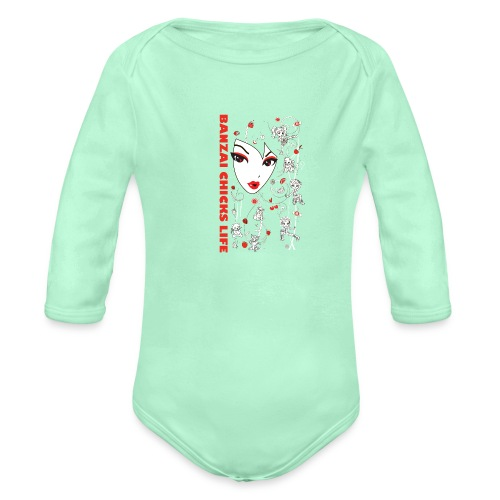 Banzai Chicks Super Cute Big Face and Chibi Tee - Organic Long Sleeve Baby Bodysuit
