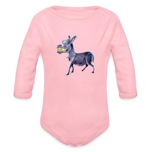 Funny Keep Smiling Donkey - Organic Long Sleeve Baby Bodysuit