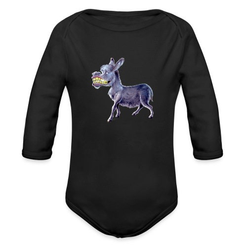 Funny Keep Smiling Donkey - Organic Long Sleeve Baby Bodysuit