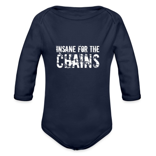 Insane for the Chains White Print - Organic Long Sleeve Baby Bodysuit