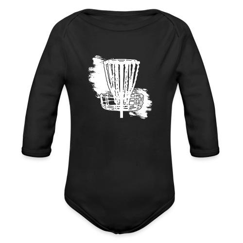Disc Golf Basket White Print - Organic Long Sleeve Baby Bodysuit
