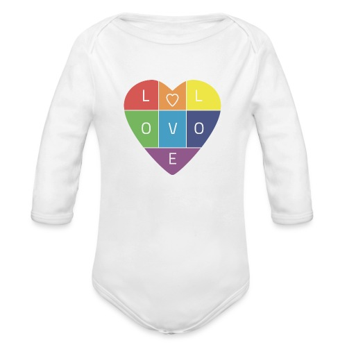 Rainbow Heart - Organic Long Sleeve Baby Bodysuit