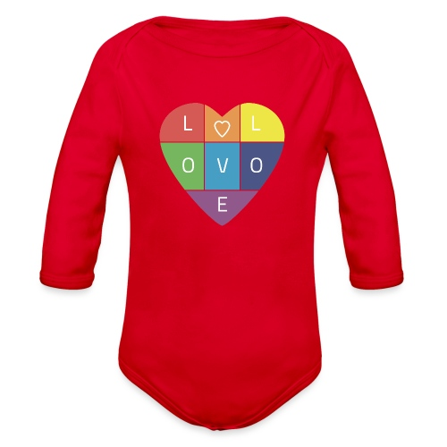 Rainbow Heart - Organic Long Sleeve Baby Bodysuit
