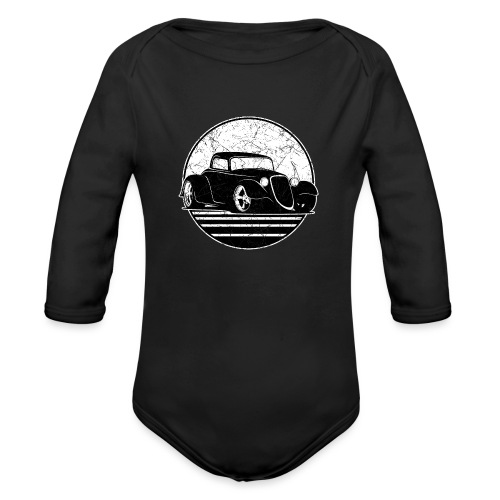 Retro Hot Rod Grungy Sunset Illustration - Organic Long Sleeve Baby Bodysuit