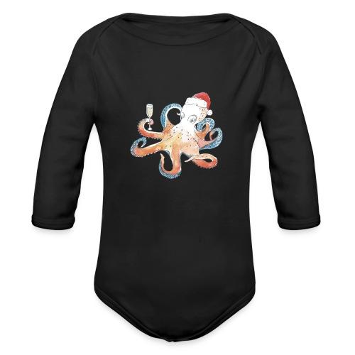 Christmas cephalopod - Organic Long Sleeve Baby Bodysuit