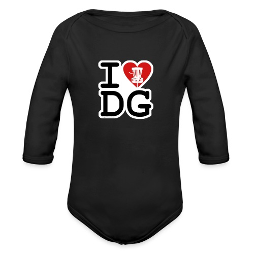 I Love (Heart) Disc Golf Shirt & Accessories - Organic Long Sleeve Baby Bodysuit