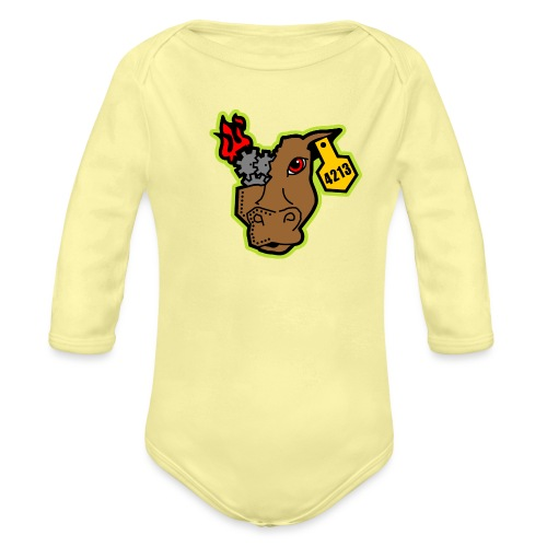 MetalCowRobotics Logo with Green Outline - Organic Long Sleeve Baby Bodysuit