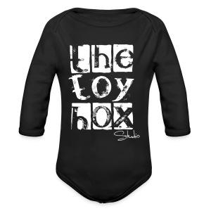 The Toy box Studio - White Logo - Long Sleeve Baby Bodysuit