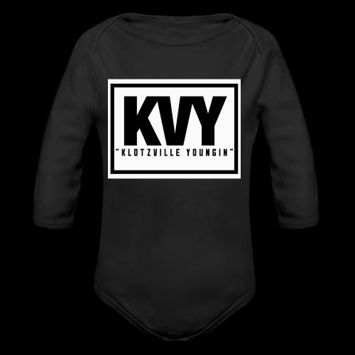 Klotzville Youngin Box Logo - Organic Long Sleeve Baby Bodysuit