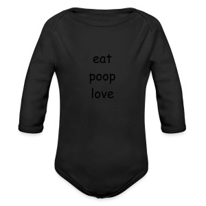 eat poop love products - Long Sleeve Baby Bodysuit