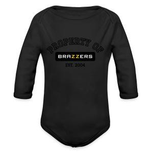 Property of Brazzers logo - Long Sleeve Baby Bodysuit