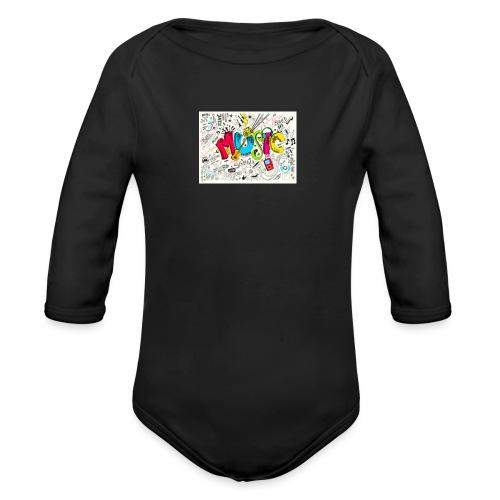 music banner - Organic Long Sleeve Baby Bodysuit