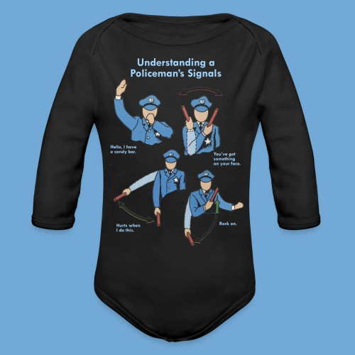 Policeman's Signals - Organic Long Sleeve Baby Bodysuit
