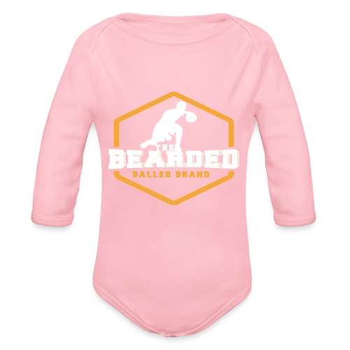The Bearded Baller Brand White and Gold - Organic Long Sleeve Baby Bodysuit