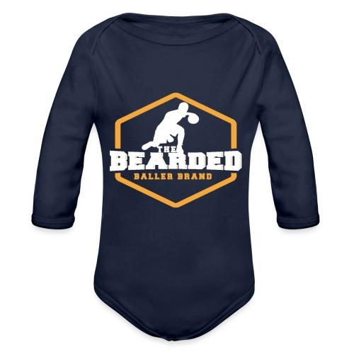 The Bearded Baller Brand White and Gold - Organic Long Sleeve Baby Bodysuit