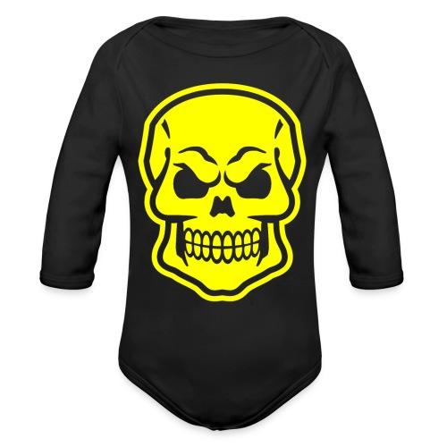 Skull vector yellow - Organic Long Sleeve Baby Bodysuit
