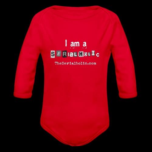 White Serialholic Logo - Organic Long Sleeve Baby Bodysuit