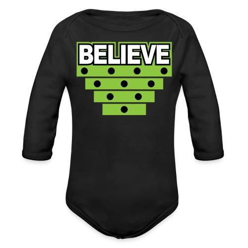 Believe Logo green - Organic Long Sleeve Baby Bodysuit