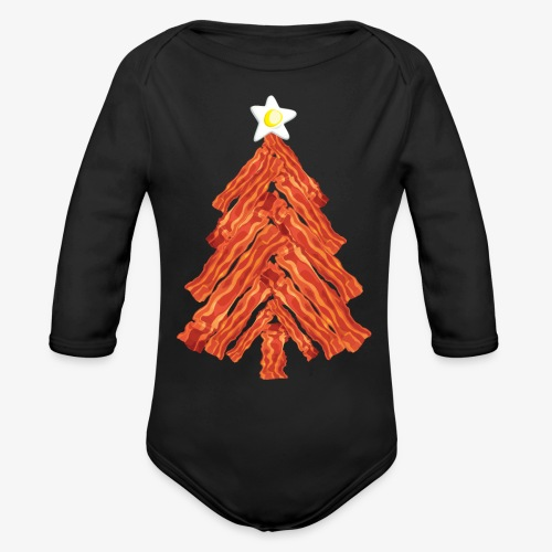 Funny Bacon and Egg Christmas Tree - Organic Long Sleeve Baby Bodysuit