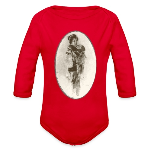 Antique Geisha Design - Japanese Girl Art - Organic Long Sleeve Baby Bodysuit
