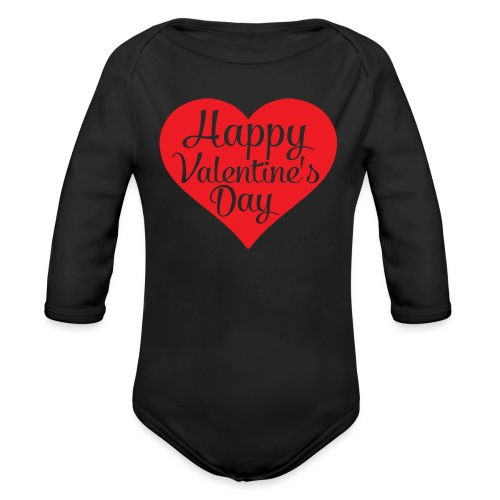 Happy Valentine s Day Heart T shirts and Cute Font - Organic Long Sleeve Baby Bodysuit