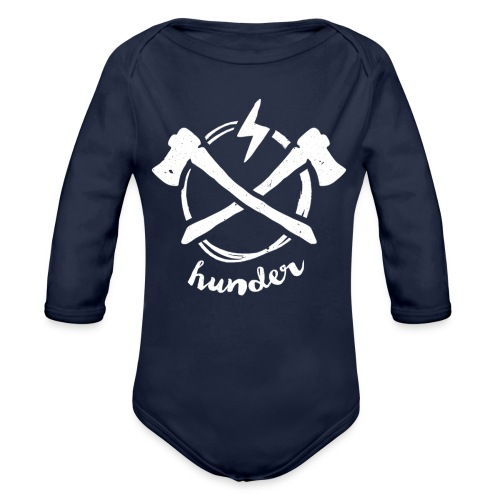 woodchipper back - Organic Long Sleeve Baby Bodysuit