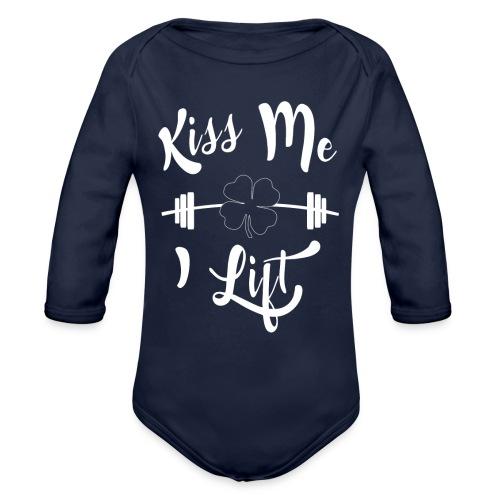 Kiss me, I lift! - Organic Long Sleeve Baby Bodysuit